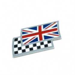 union jack on chequered flag stick on badge 25x45mm(dag70mmm