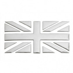 union jack chrome stick on badge