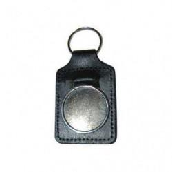 porte cles cuir badge 27mm