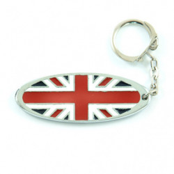 union jack oval metal key ring