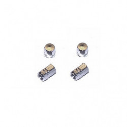 tyre valve cap set in silver