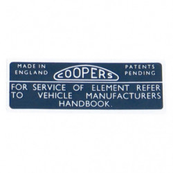 cooper air filter sticker