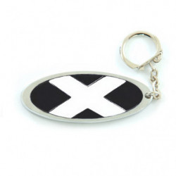 blue mini oval metal script key ring
