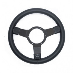 "steering wheel 12"" leather with black spokes"