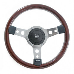 "steering wheel wood rim polished spokes 13"" diameter"